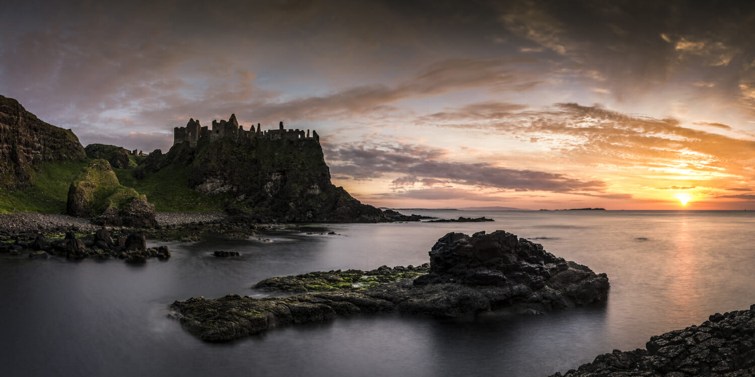 Dunluce Castle, Northern Ireland. Fuji X-T1 and XF 14mm lens. Exposures 10 seconds, f8 and ISO 200, consisting of 7 images.