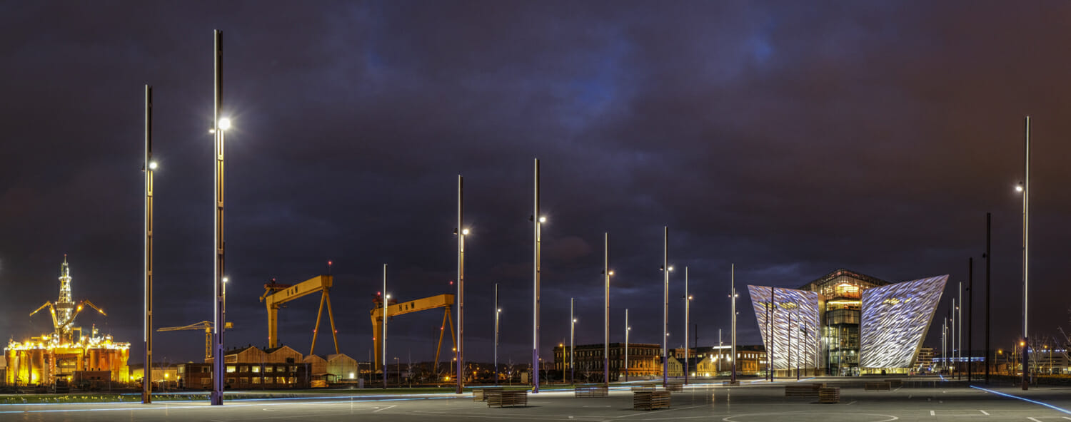 Titanic Belfast. Fuji X-T1 and XF 23mm lens. Exposures 2 seconds, f8 and ISO 200, consisting of 8 images.